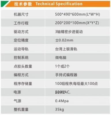 Thông số kĩ thuật Máy chấm keo tự động 1 đầu 1 Y